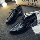 New Women's Retro Lace Up Brogue Oxfords Wedge Casual Pointy Toe Platform Shoes