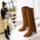 Fashion Women's Casual Zipper Pointy Toe Tassels Rivet Over Knee Boots Shoes New