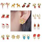 Christmas Snowflake Deer Bell Crystal Ear Stud Earrings Women Girl Xmas Gifts