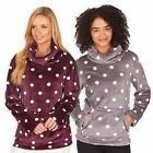 Ladies Polka Dot Cowl Neck Jumper New Womens Fleece Sweatshirt Warm Top UK 8-22