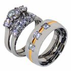 His Hers 3 PCS Stainless Steel Womens Wedding Set w/Mens 3 CZ Gold Stripe Band