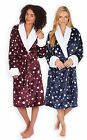 Ladies Star Print Dressing Gown New Womens Shawl Collar Fleece Bathrobe UK 8-22