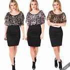 Womens Leopard Print Cape Chiffon Stretch Bodycon Mini Pencil Ponte Dress