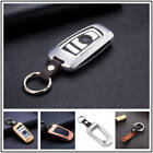 For BMW Car Key Fob Case Cover Keyless Entry Aluminum Genuine Leather +Key Chain