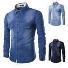 XS- 4XL Mens Denim Casual Shirts Long Sleeve Slim Fit STYLISH Jeans Shirt Blouse