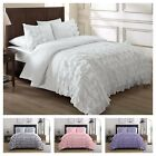 Chezmoi Collection Ella Waterfall Ruffled Comforter Set, ( White, Pink, Gray )