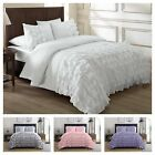 Внешний вид - Chezmoi Collection Ella Waterfall Ruffled Comforter Set, ( White, Pink, Gray )El