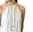 John Wind Jewelry Necklace Lariat Ribbon Gold Large Initial Gift Maximal Art