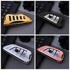 For BMW Car Key Case Cover Keyless Entry Fashion Aluminum Genuine Leather+Chain