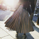 JP 017 New Design Women Girls Gradient Metal Glossy Pleated Long Maxi skirt