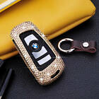 Diamond Handmade Car Key Case Cover For BMW Aircraft Aluminum Genuine Leather
