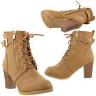Womens Boots Lace Up Gold Buckle Accent Stacked High Heel Ankle Booties Brown