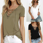 Summer Womens V Neck Lace Up T-Shirt Short Sleeve Loose Tops Casual Blouse LAUS
