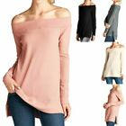 Off Shoulder Long Sleeve Waffle Thermal High Low Hem Slit Sides Fitted Top S M L