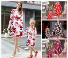 New Christmas Santa Snowman Fawn Printing Mini Dress Mother&Daughter Custume Set