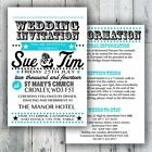Luxury Personalised Retro Text Wedding Invitation Day or Evening