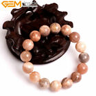 Natural Stone Genuine Sunstone Gemstone Beads Healing Beaded Stretch Bracelet 7""
