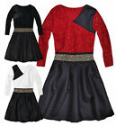 Girls Christmas Dress New Kids Long Sleeved Xmas Skater Dresses Ages 2-12 Years
