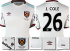 16 / 17 - UMBRO WEST HAM UNITED AWAY SHIRT SS + PATCHES  J. COLE 26 = KIDS SIZE