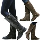 New Women TFx Black Khaki Brown Buckle Riding Knee High Boots size 5 to 10
