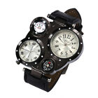 Stylish Stainless Steel Leather Men's Military Sport Analog Quartz Wrist Watch