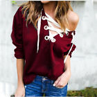 Fashion Women Lady Cross Lace-up Long Sleeve Tops Blouse Pillover Hoodie T Shirt