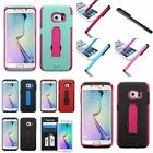 For Samsung Galaxy S6 Edge Symbiosis Stand Hybrid Hard Soft Case Cover+Film+Pen