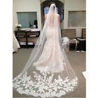 3M 1 layer new White Ivory Elegent Cathedral Lace Edge Wedding Bridal veil comb