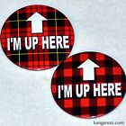 """2 Pins - """"I'M UP HERE"""" bartender server sexy plaid style Tilted Kilt, Twin Peaks"""