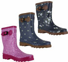 Womens Floral Rubber Short Mid Calf Wellington Wellies Welly Boots Sizes 4 to 8