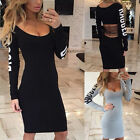 Women Ladies Back Hollow Long Sleeve Bodycon Dress Clubwear Party Pencil Dresses