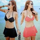 Bikini Set 3pcs Underwire Halter Unremovable Pads Women Swimwear Swimsuit Skirt