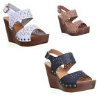 13060 Womens High Wedge Platform Peep Toe Side Buckle Ladies Fashion Gorgeous Sa