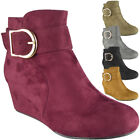 WOMENS LADIES FAUX SUEDE MID LOW HEEL WEDGE BUCKLE WORK ANKLE BOOTS SHOES SIZE