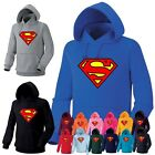 Mens Womens Superhero Superman Heavy Cotton Hooded Sweatshirts Hoody Hoodie 3A