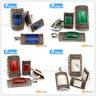Rectangle Stone Vintage Tibetan Silver Marcasite Jewerly Set Free Shipping