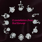 1Pair Chic Silver plated 12 Constellations Zodiac Sign Ear Studs Earrings Newest