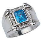 Men's White Gold Plated Ring Broad Band 7x9mm Simulated Blue Topaz CZ Jewelry