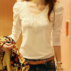 New Women Lady Blouse Slim Lace Long Sleeves Shirt Tops Autumn Winter Clothing