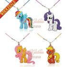 Hot 8PCS My Little Pony Cartoon Pendant Necklace keychain for Girls Party Gifts