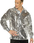 Silver 1970's Disco Ball Adult Mens Groovy Sequin Costume Shirt