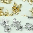 Flower Metal Beads Pendants Gold Silver Beads for Jewelry Making Supplies #207