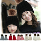 2PCS Mom Mother+Kids Knit Pom Bobble Hat Kids Girls Boys Winter Warm Beanie Cap