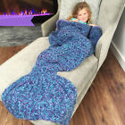 Kids Mermaid Tail Handmade Crocheted Cocoon Sofa Beach Quilt Knit Blanket Xmas