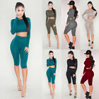 Sexy Women Casual Crop top Two Piece Capri Bodycon Crew Neck Clubwear Jumpsuit