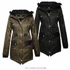 BRAVE SOUL LADIES WOMENS FUR HOOD FISHTAIL PARKA JACKET MILITARY COAT SIZES 8-16