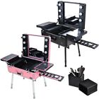 Rolling Studio Makeup Train Case Cosmetic w/Light Leg Mirror Wheeled Salon Opt