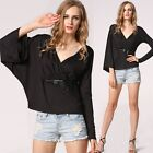 2015 Sexy Women V-neck Tops Tee Long Sleeve Shirt Casual Blouse Loose TXWD