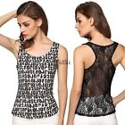 Women Fashion Sexy Casual Sleeveless Hollow Lace Patchwork Tank Tops TXWD