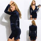 Women Ladies Vintage Velvet Deep V-neck Halter Bodycon Dress Evening Party Dress